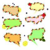set of speech bubbles fruit vector illustration