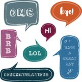 Set of speech bubbles with greetings. Stock Image
