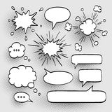 Set of speech bubbles. Set of speech bubbles with halftone shadows. Vector illustration Royalty Free Stock Image