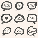 Set of speech bubbles. Hand drawn vector bubbles Stock Photo