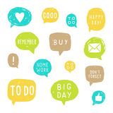Set of speech bubbles for planning. Vector hand drawn illustration Royalty Free Stock Images