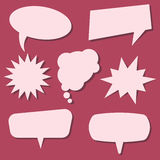 Set of speech bubbles on a red background. Speech bubbles without phrases Stock Photo
