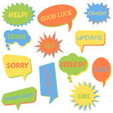 Set of speech bubbles on a white background with different inscriptions in the middle. Royalty Free Stock Photo