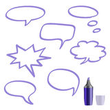 Set of speech bubbles on white background. Set of speech bubbles on white background hand-painted marker stock illustration