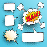 Set of speech comic bubbles. Comic sound effect. Halftone shadows. Vector illustration Royalty Free Stock Images