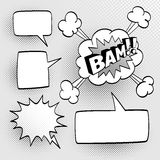 Set of speech comic bubbles. Comic sound effect. Halftone shadows. Vector illustration Royalty Free Stock Photos