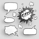 Set of speech comic bubbles. Comic sound effect. Halftone shadows. Vector illustration Stock Photography