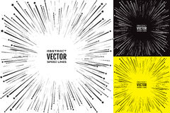 Set speed line with stars. Festive illustration with effect power explosion. Element of design. Vector Royalty Free Stock Photography