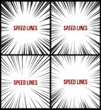 Set of Speed lines isolated set. Motion effect for your design. Black comic lines on a white background. royalty free illustration