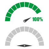 Set of speedometer or rating meter signs infographic gauge element with percent 100 Royalty Free Stock Images