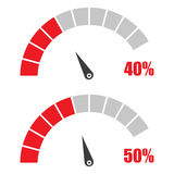 Set of speedometer or rating meter signs infographic gauge element with percent 40, 50 Royalty Free Stock Photography