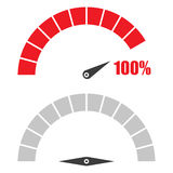 Set of speedometer or rating meter signs infographic gauge element with percent 100 Royalty Free Stock Photo