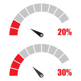 Set of speedometer or rating meter signs infographic gauge element with percent 20, 30