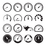 Set of speedometers icons. Set of 16 black speedometers icons isolated on white background. Vector illustration Stock Image