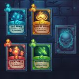 Set spell cards of fiery gaze, poison rain, ice bomb, ring of li. Ght. For web, video games, user interface, design Stock Image