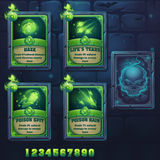 Set spell cards of haze, lifes tears, poison spit, poison rain Royalty Free Stock Images