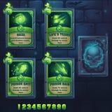 Set spell cards of haze, lifes tears, poison spit, poison rain. For web, video games, user interface, design royalty free illustration