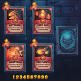 Set spell cards of meteorite, fiery gaze, firestorm, fire flowes. For web, video games, user interface, design Stock Images