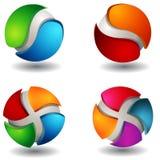 set sphere för abstrakt begrepp 3d Arkivfoto
