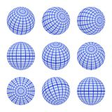 Set spheres globe earth grid from different sides. Horizontal and vertical lines, latitude and longitude in blue colors royalty free illustration