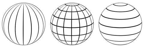 Set spheres globe earth grid, latitude longitude. Set spheres globe earth grid, horizontally and vertically, latitude and longitude. Vector globe royalty free illustration