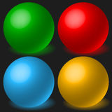 Set of 4 spheres with glowing shadow. Spatial, 3d balls, orbs. Royalty free vector illustration Stock Images