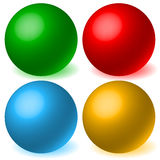 Set of 4 spheres with glowing shadow. Spatial, 3d balls, orbs. Royalty free vector illustration Stock Photos