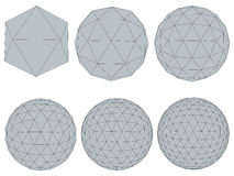 Set with spheres. Vector illustration set with spheres. The transformation from simple to complex. Grid. Isolated Royalty Free Stock Images