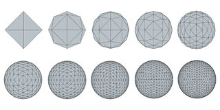 Set with spheres. Vector illustration set with spheres. The transformation from simple to complex. Grid. Isolated Royalty Free Stock Photos