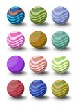 Set of spheres with waves in different color variants with shadow in 3d design. Royalty Free Stock Photo