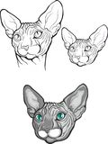 Set of sphynx cat. Vector illustration. Tattoo style. Royalty Free Stock Photography