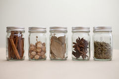 Set of spices in glass bottles Stock Photo