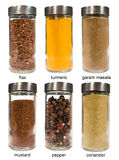 Set of spices in glass jars Stock Image