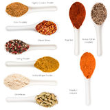 Set of spices heaps Royalty Free Stock Photo