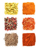 Set of spices heaps Stock Images