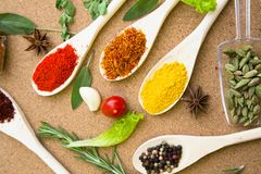 Set of spices and herbs on a corkwood. Cooking hot spicy meal. A set of four different spices in wooden spoons, dry beans, fresh cherry tomatoe, garlic, rosemary Stock Photos
