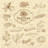 Set of spices and herbs cuisines Pakistan on old Stock Photos