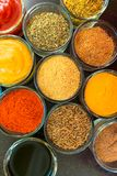 Set of spices and herbs. Indian cuisine Pepper, salt, paprika, curry, basil, mustard, nutmeg, turmeric.. V stock photos