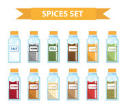 Set spices in jars, flat style. Set of different spices, herbs in a glass jar Royalty Free Stock Photography