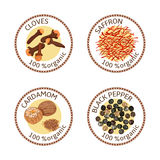 Set of spices labels. 100 organic. collection. Set of herbs labels. 100 organic. Spice collection. Vector illustration. Cloves, black pepper, nutmeg, saffron Royalty Free Stock Photos