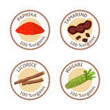 Set of spices labels. 100 organic. collection Royalty Free Stock Photography