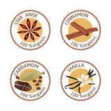 Set of spices labels. 100 organic. collection Stock Photo