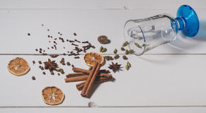 The set of spices for making mulled wine Royalty Free Stock Photos