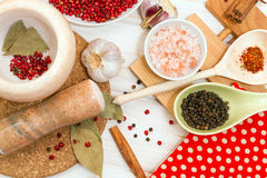 Set of spices and marble mortar. Set of different spices and marble mortar for grinding spices Stock Photography