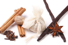 Set of spices for mulled wine. On the table Royalty Free Stock Photos
