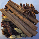 Set of spices for mulled wine. Cardamom, cinnamon, cloves, star anise Royalty Free Stock Photography