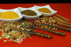 Set of spices and seasonings with old metal spoons on red table Stock Photos