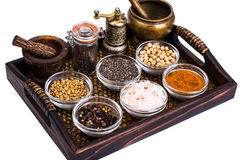 Set of spices and seeds of legumes in glass molds on tray Royalty Free Stock Image