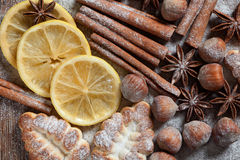 Set of spices, star anise, cinnamon and cloves Royalty Free Stock Image