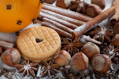 Set of spices, star anise, cinnamon and cloves Royalty Free Stock Photo